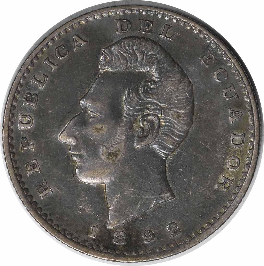 1892 TF Ecuador 2 Decimos KM51.3 AU Uncertified