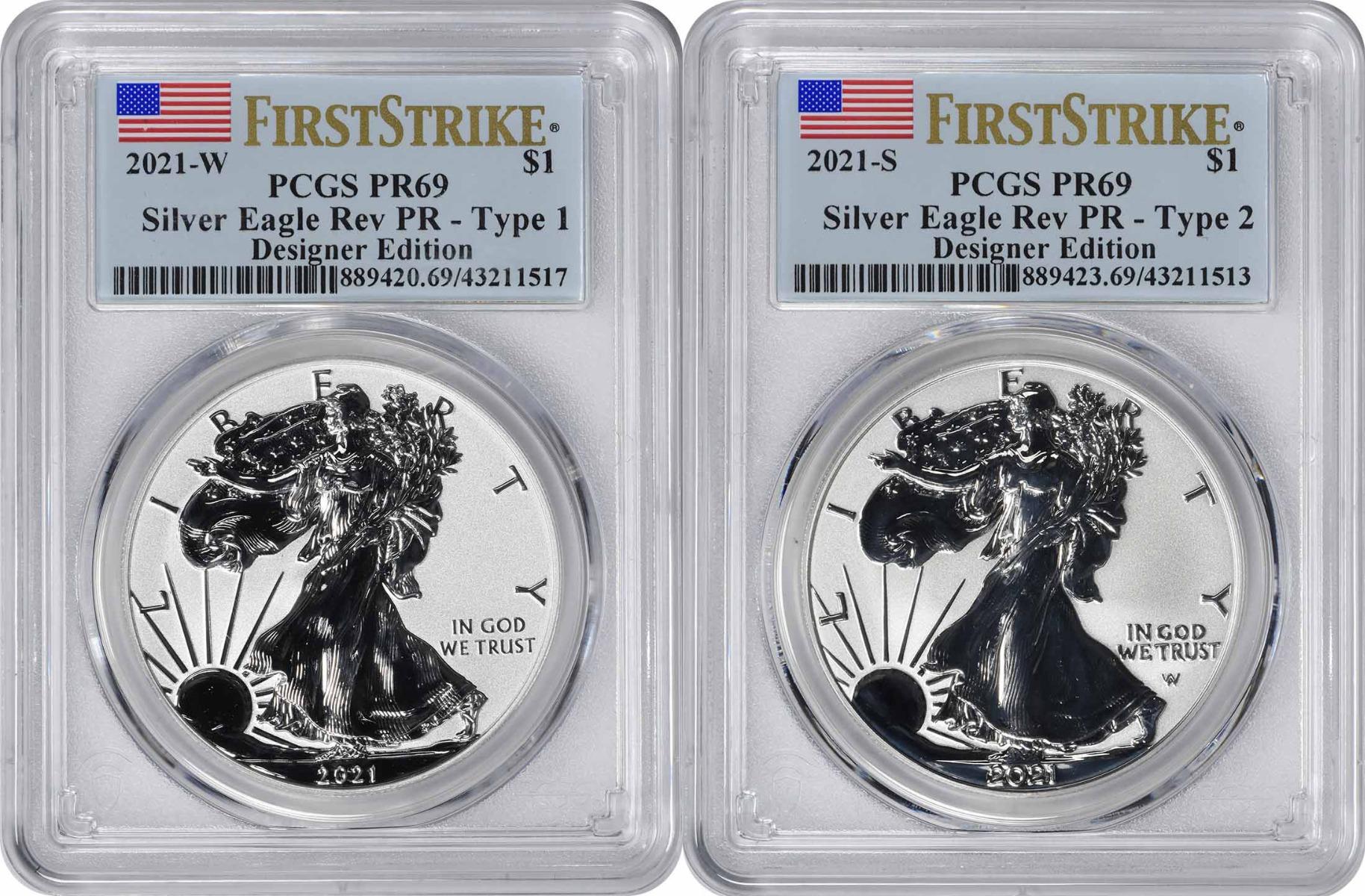 2021 $1 American Silver Eagle Designer Edition 2-Coin Set Reverse Proof PR69 First Strike PCGS **Pre-Sale**
