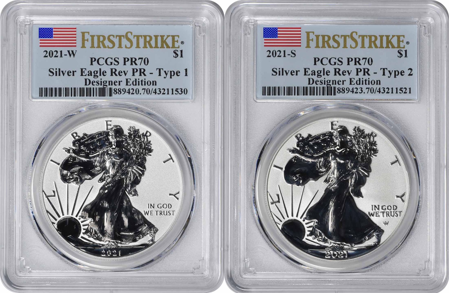 2021 $1 American Silver Eagle Designer Edition 2-Coin Set Reverse Proof PR70 First Strike PCGS **Pre-Sale**