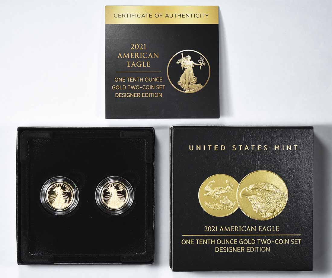 2021-W $5 American Gold Eagle Designer Edition 2-Coin Set in Original Government Packaging