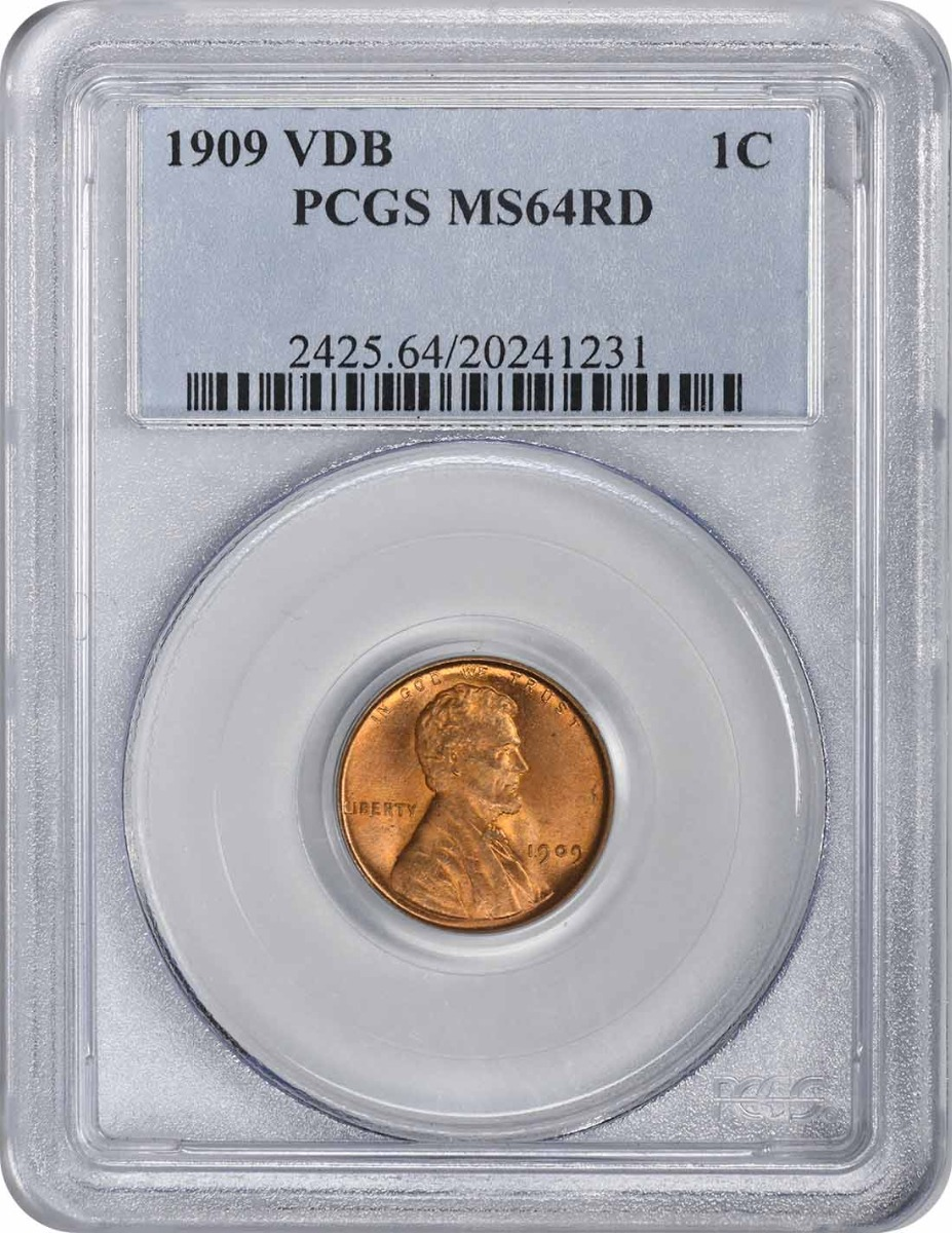 1909-P VDB Lincoln Cent MS64RD PCGS