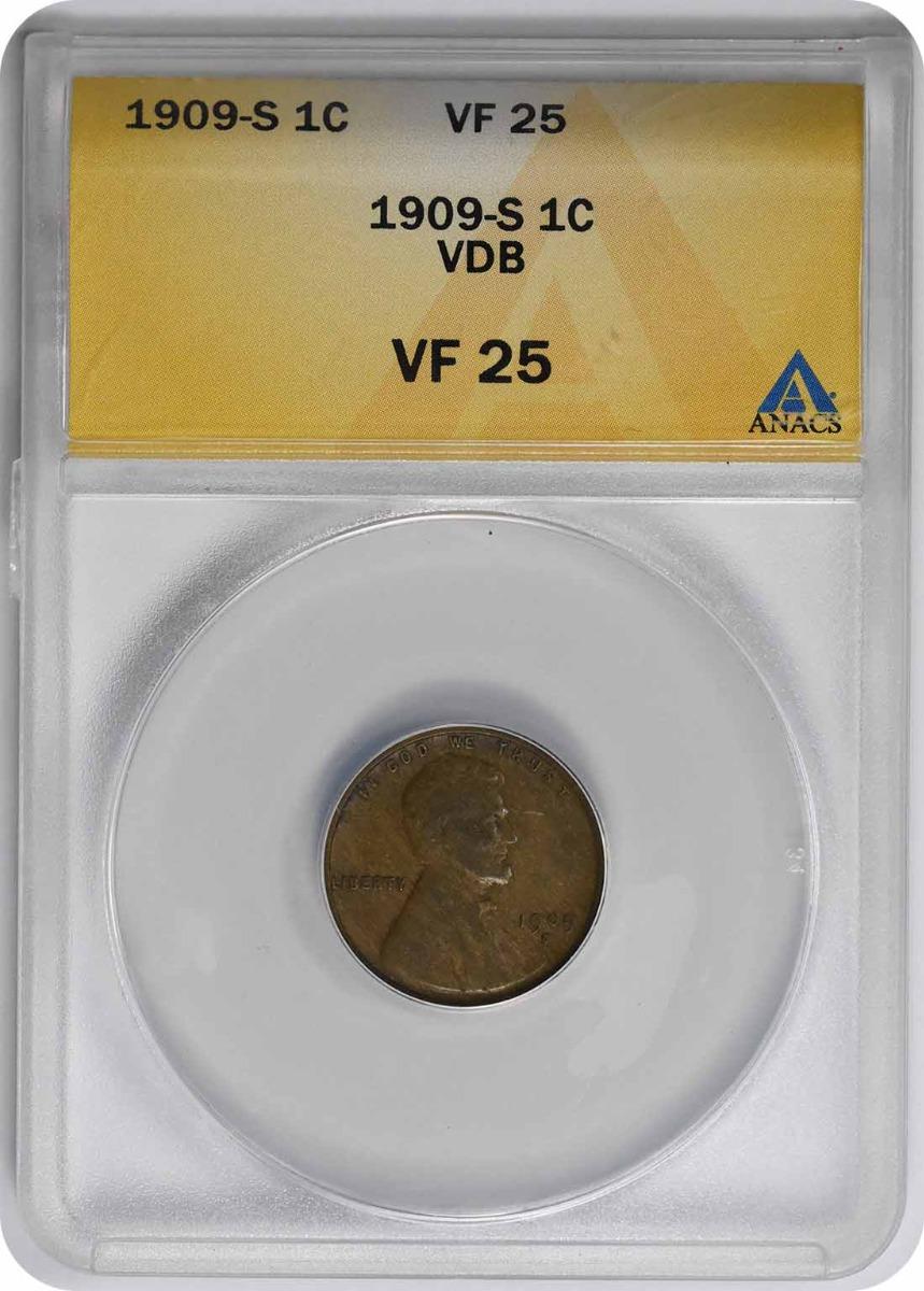 1909-S VDB Lincoln Cent VF25 ANACS