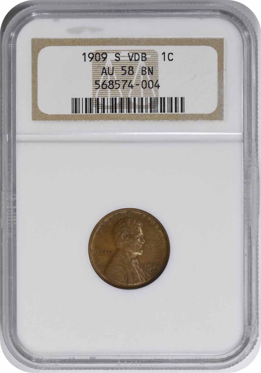 1909-S VDB Lincoln Cent AU58BN NGC
