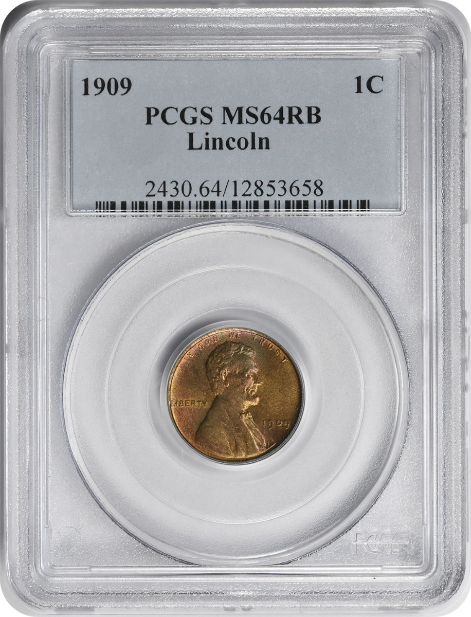 1909 Lincoln Cent MS64RB PCGS