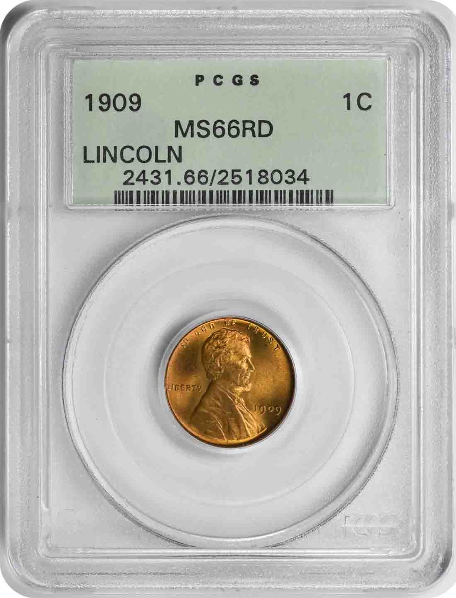 1909 Lincoln Cent MS66RD PCGS