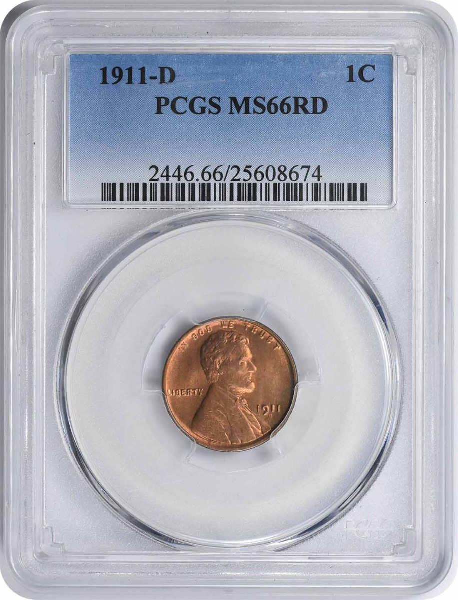 1911-D Lincoln Cent MS66RD PCGS