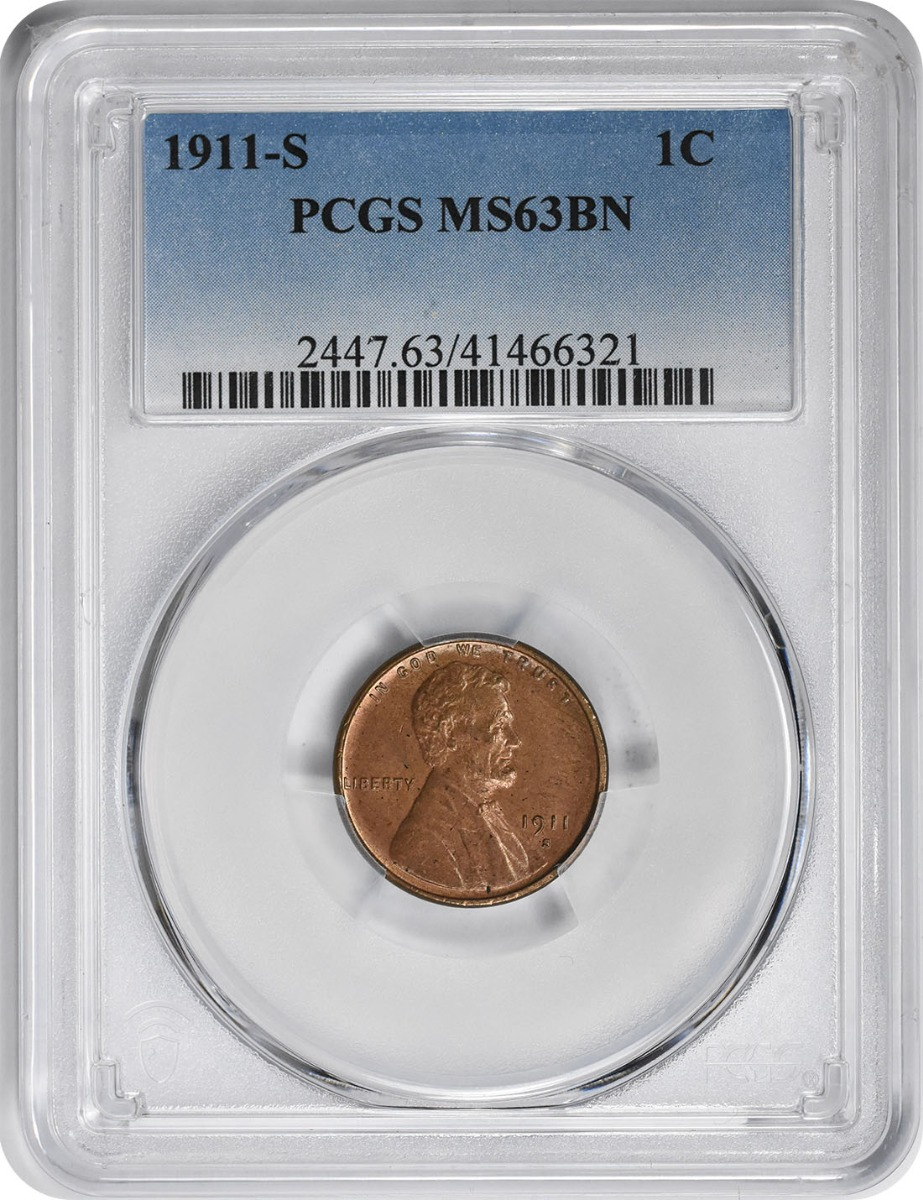 1911-S Lincoln Cent MS63BN PCGS