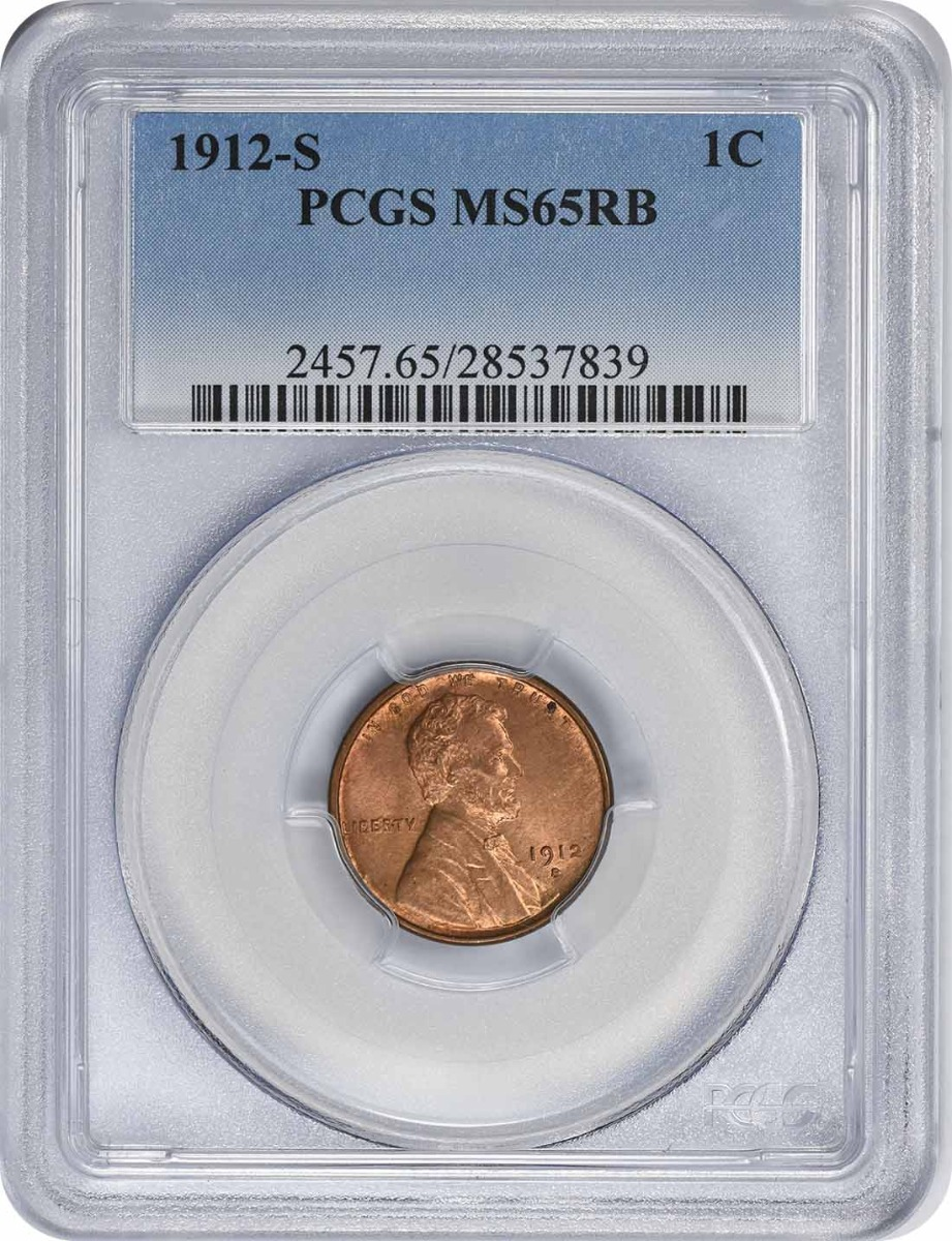 1912-S Lincoln Cent MS65RB PCGS