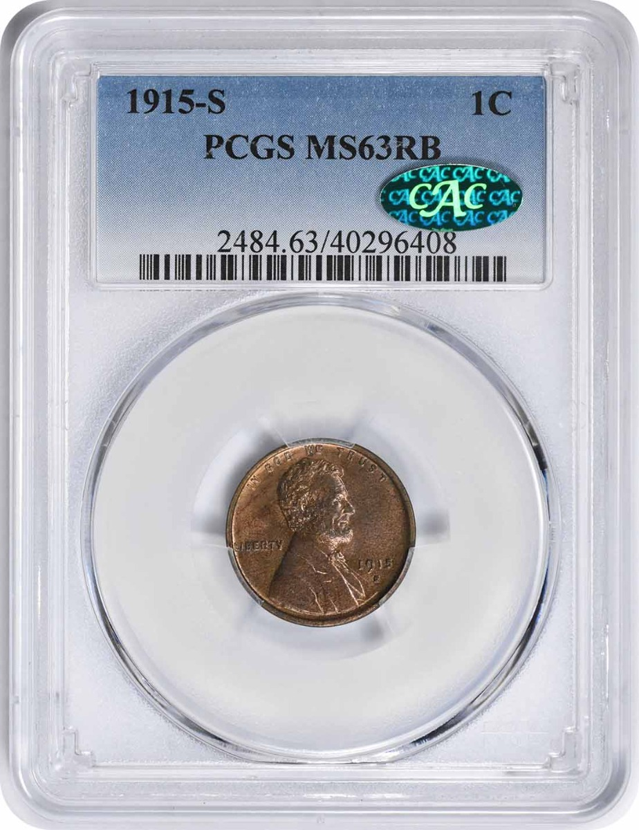 1915-S Lincoln Cent MS63RB PCGS (CAC)