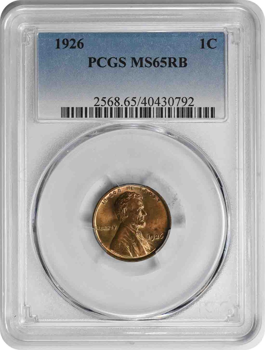 1926 Lincoln Cent MS65RB PCGS
