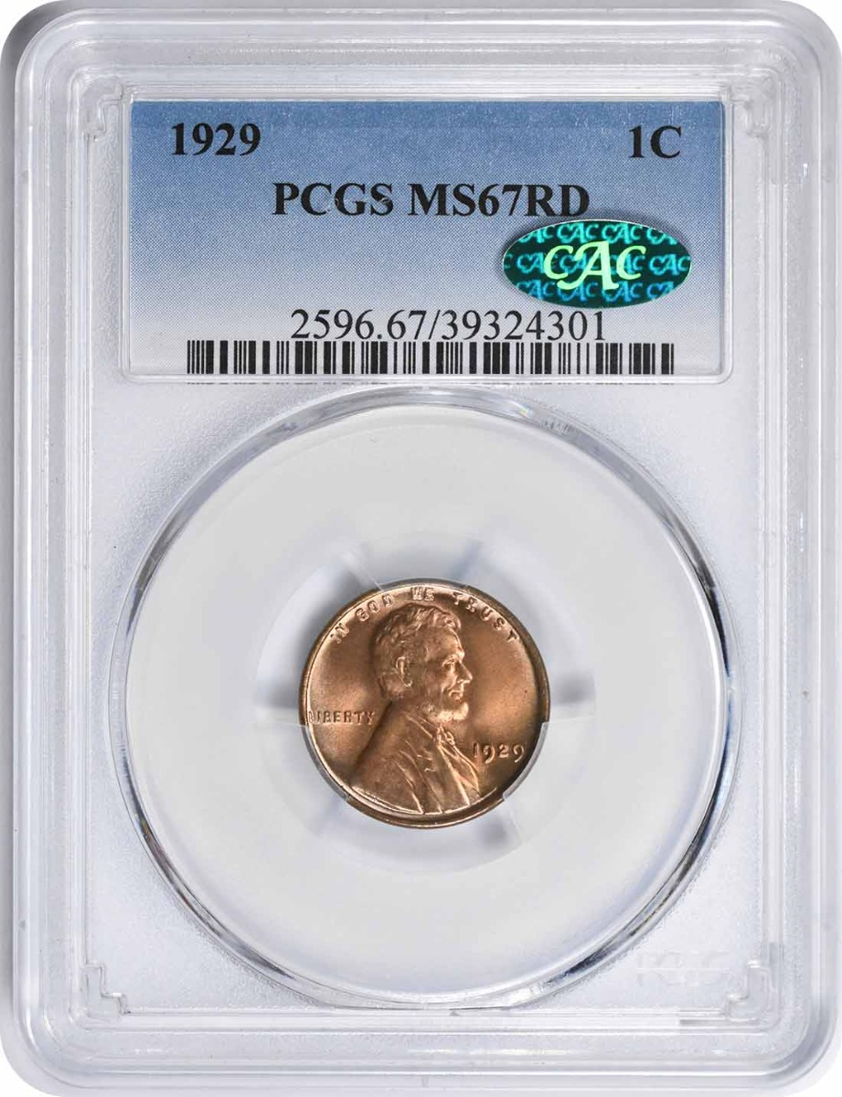 1929 Lincoln Cent MS67RD PCGS (CAC)