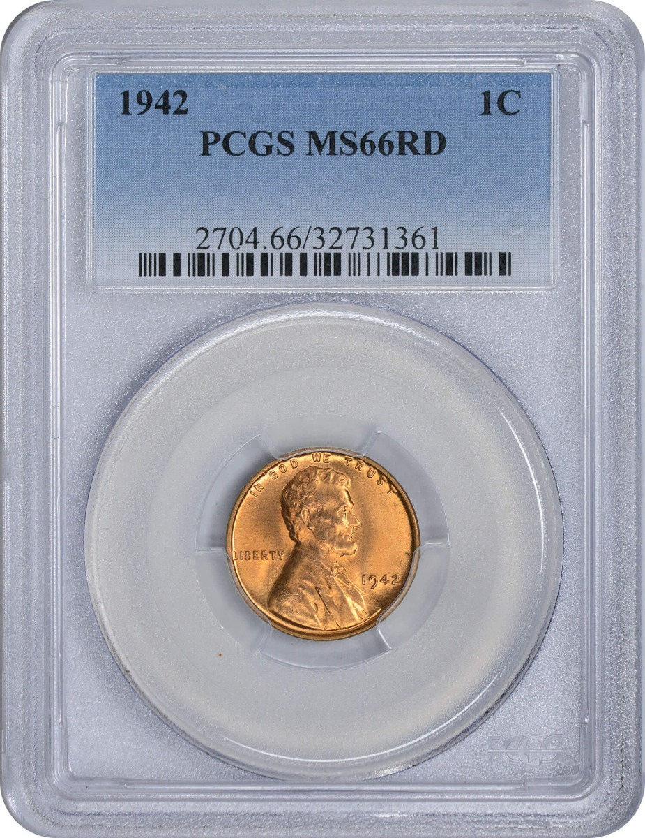 1942-P Lincoln Cent, MS66RD, PCGS