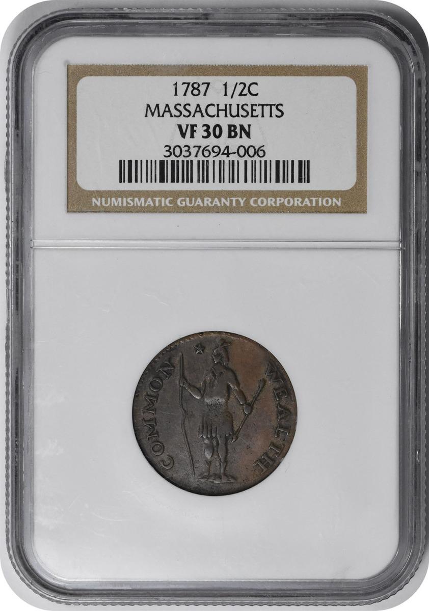 1787 Massachusetts Half Cent VF30BN NGC