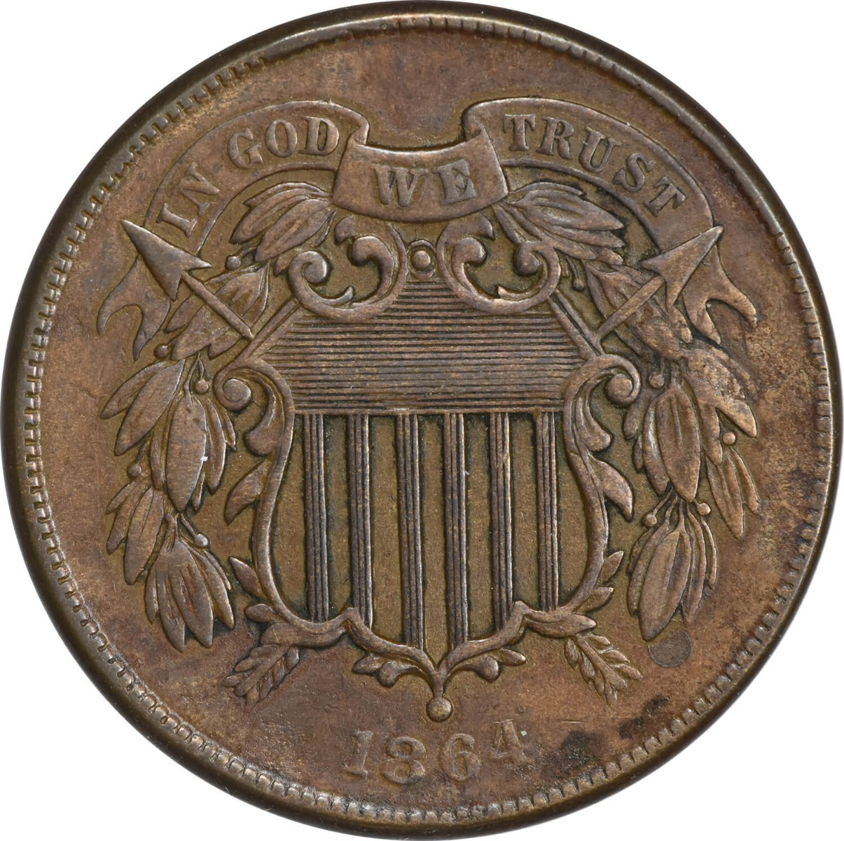 1864 Two Cent Piece, Large Motto, EF, Uncertified