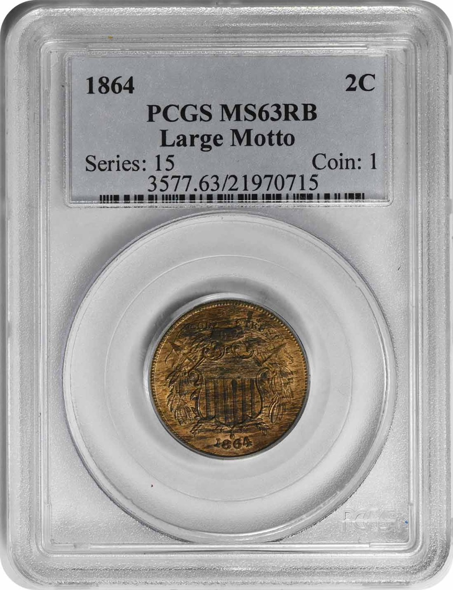 1864 Two Cent Piece Large Motto MS63RB PCGS