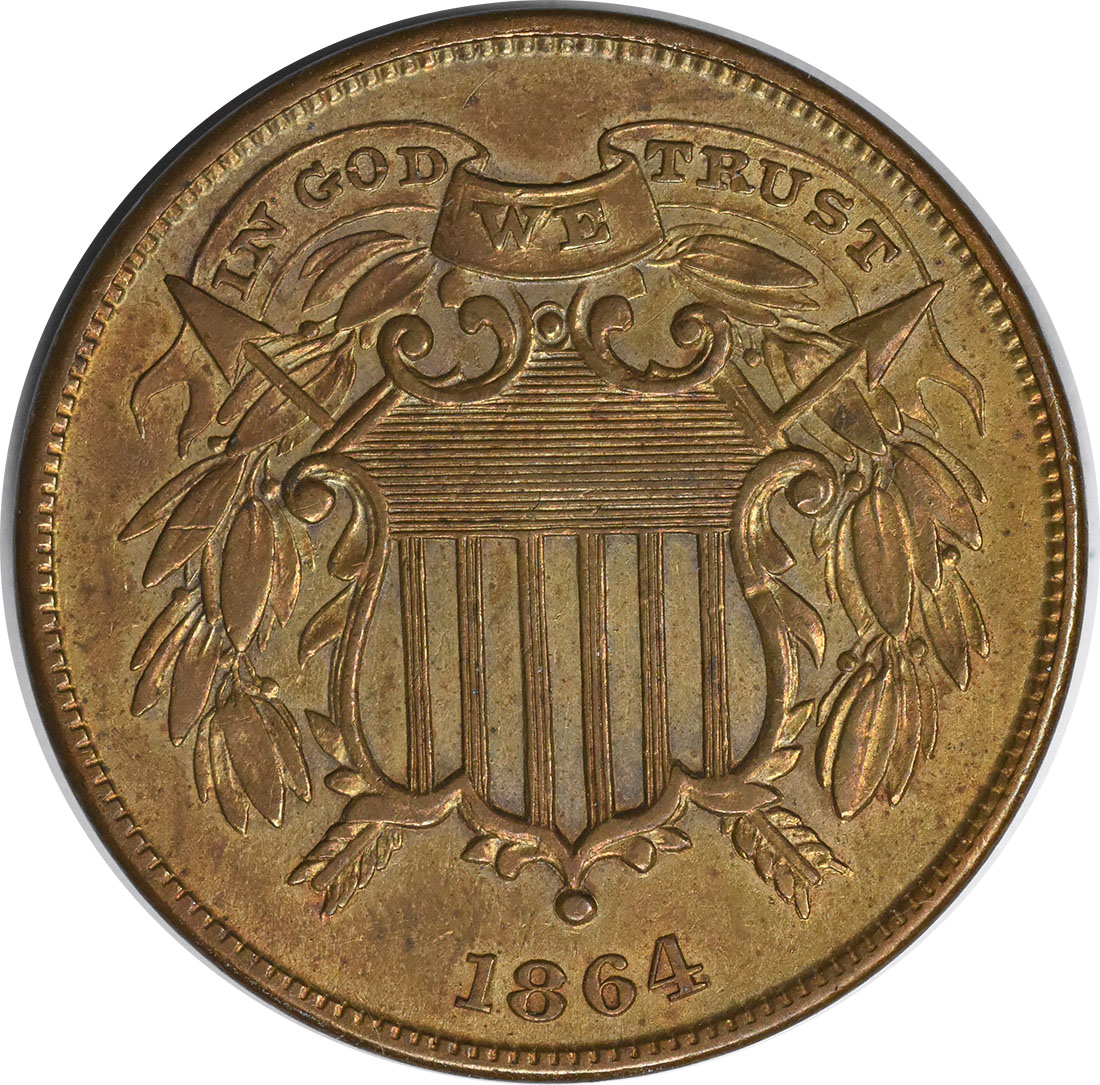 1864 Two Cent Piece  Small Motto MS60 Uncertified #130