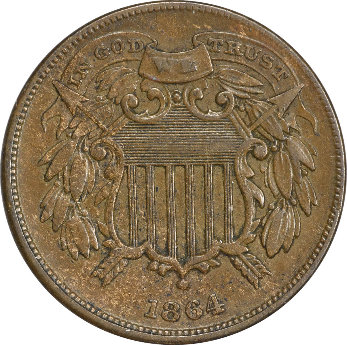 1864 Two Cent Piece, Small Motto, EF, Uncertified