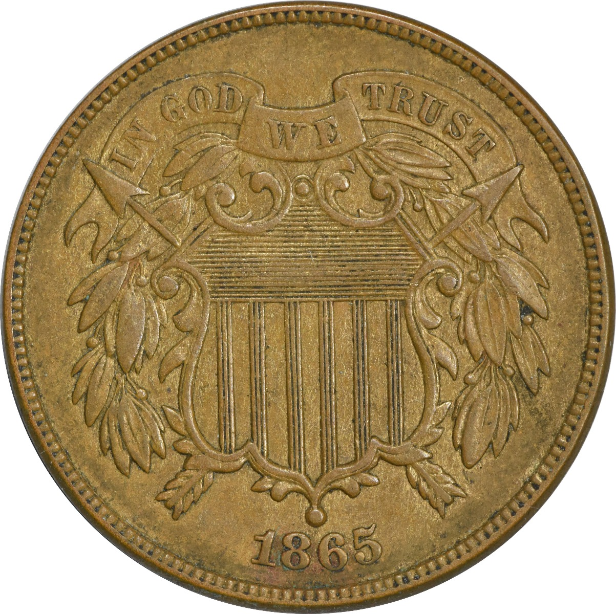1865 Two Cent Piece AU Uncertified