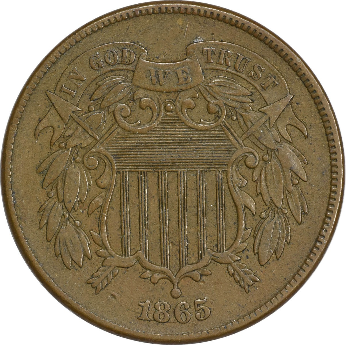 1865 Two Cent Piece, EF, Uncertified