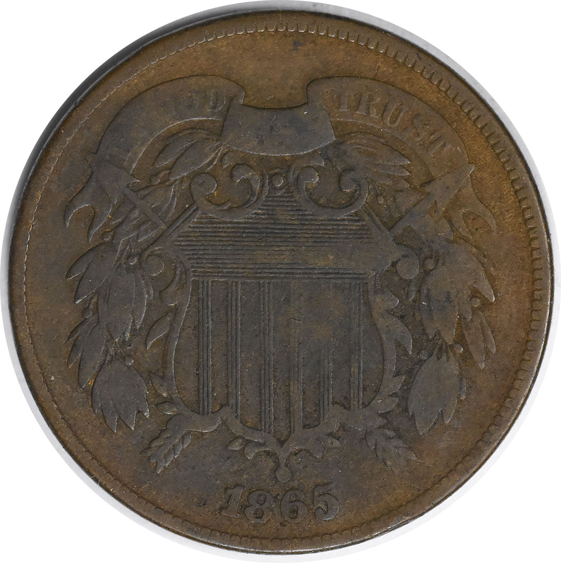 1865 Two Cent Piece F Uncertified