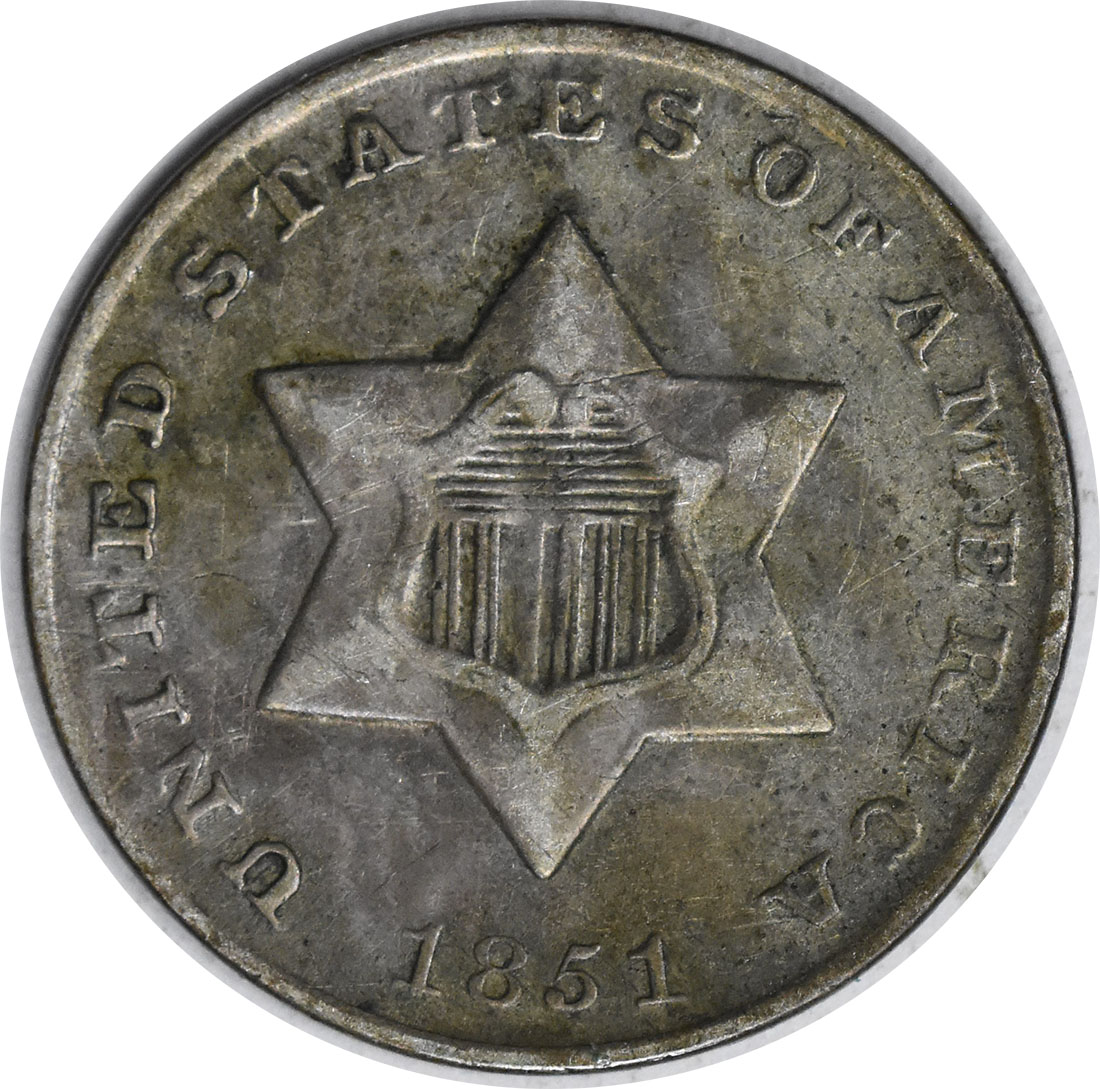 1851 Three Cent Silver AU Uncertified