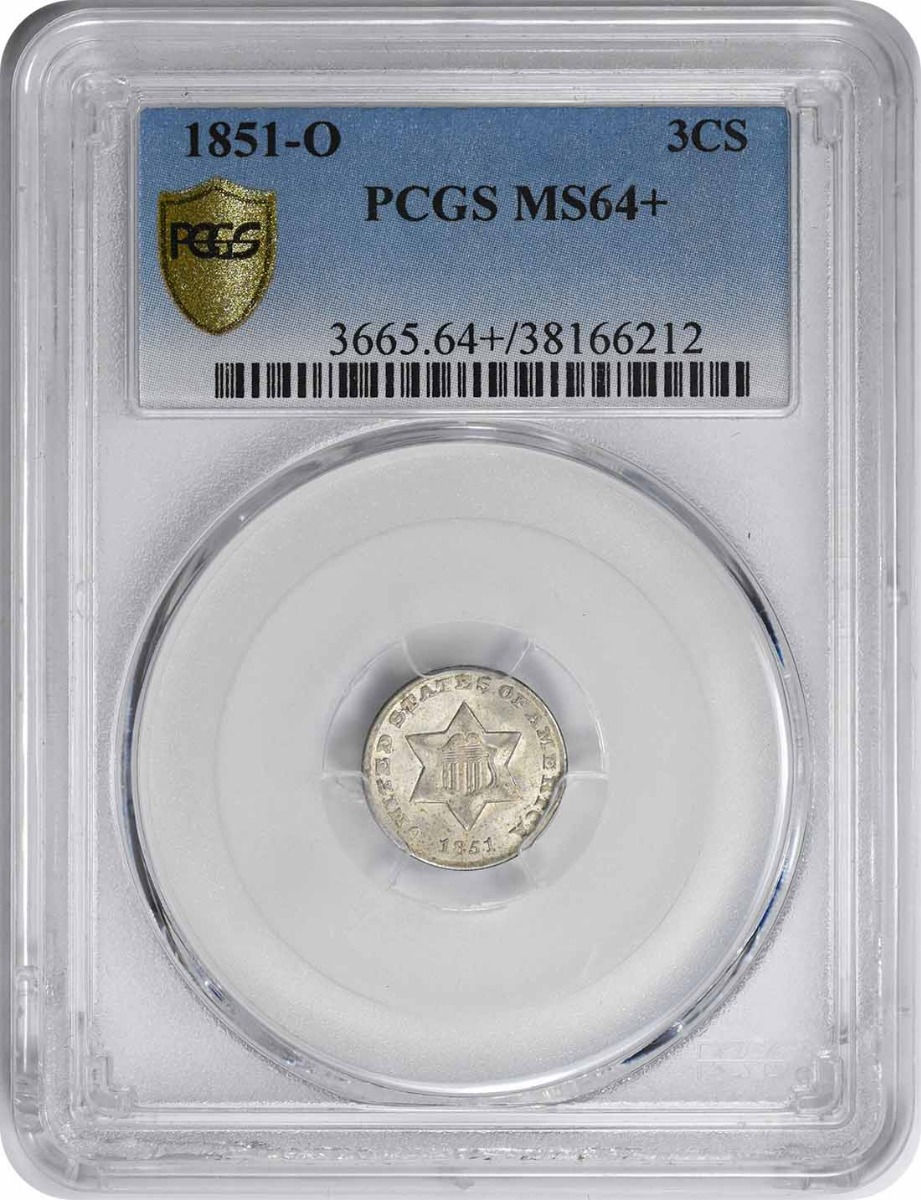 1851-O Three Cent Silver MS64+ PCGS
