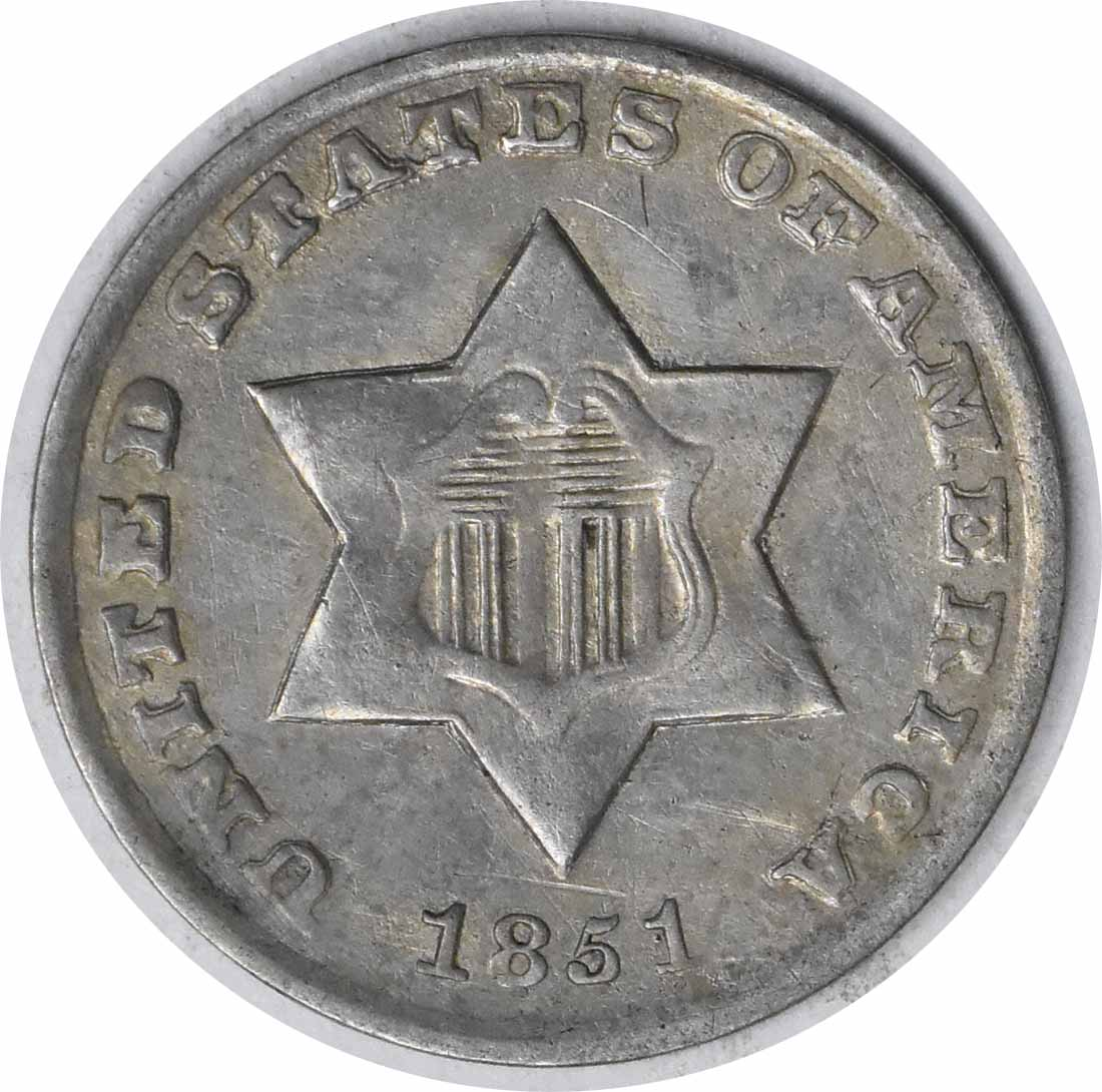 1851-O Three Cent Silver AU Uncertified #1026