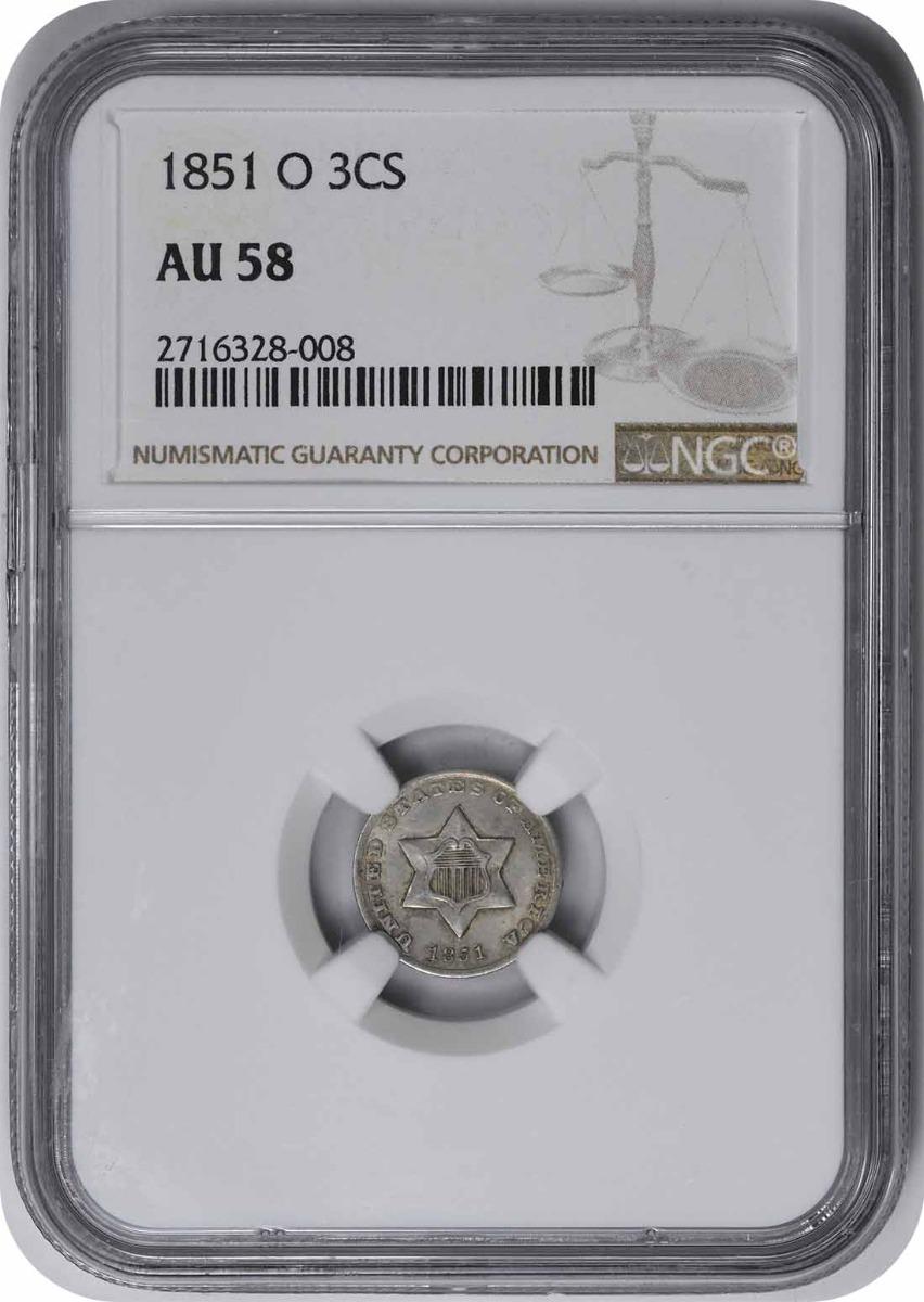 1851-O Three Cent Silver AU58 NGC