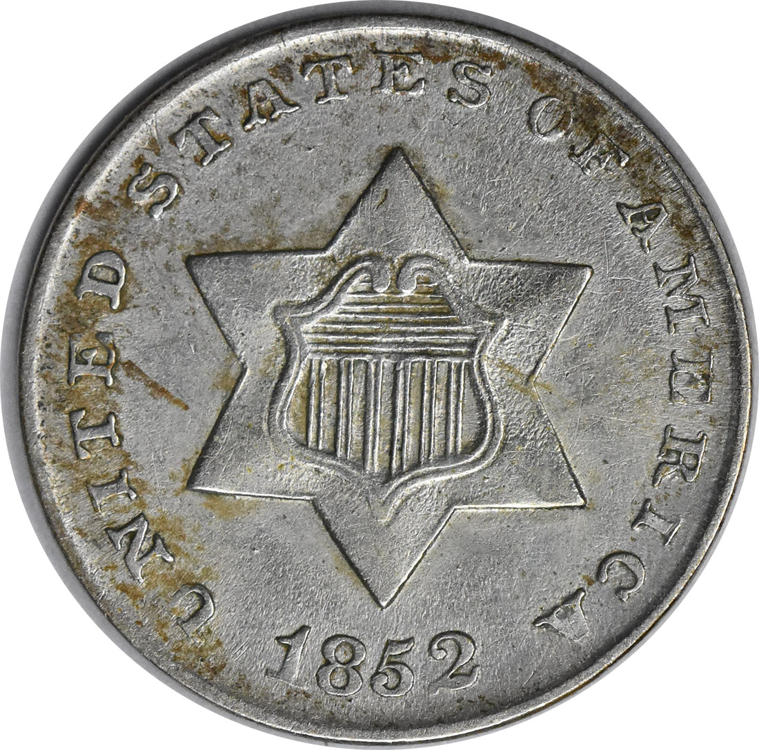 1852 Three Cent Silver AU58 Uncertified