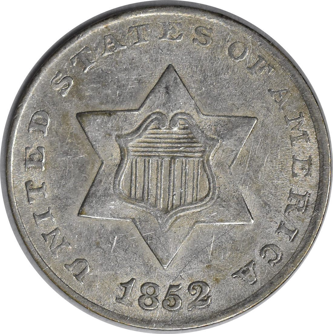 1852 Three Cent Silver Choice AU Uncertified