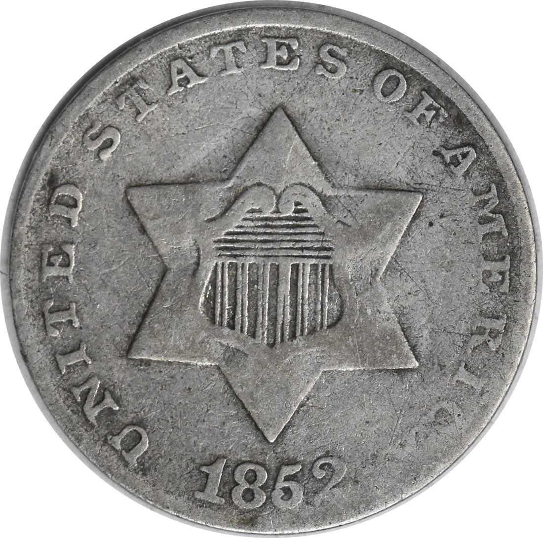1852 Three Cent Silver VG Uncertified