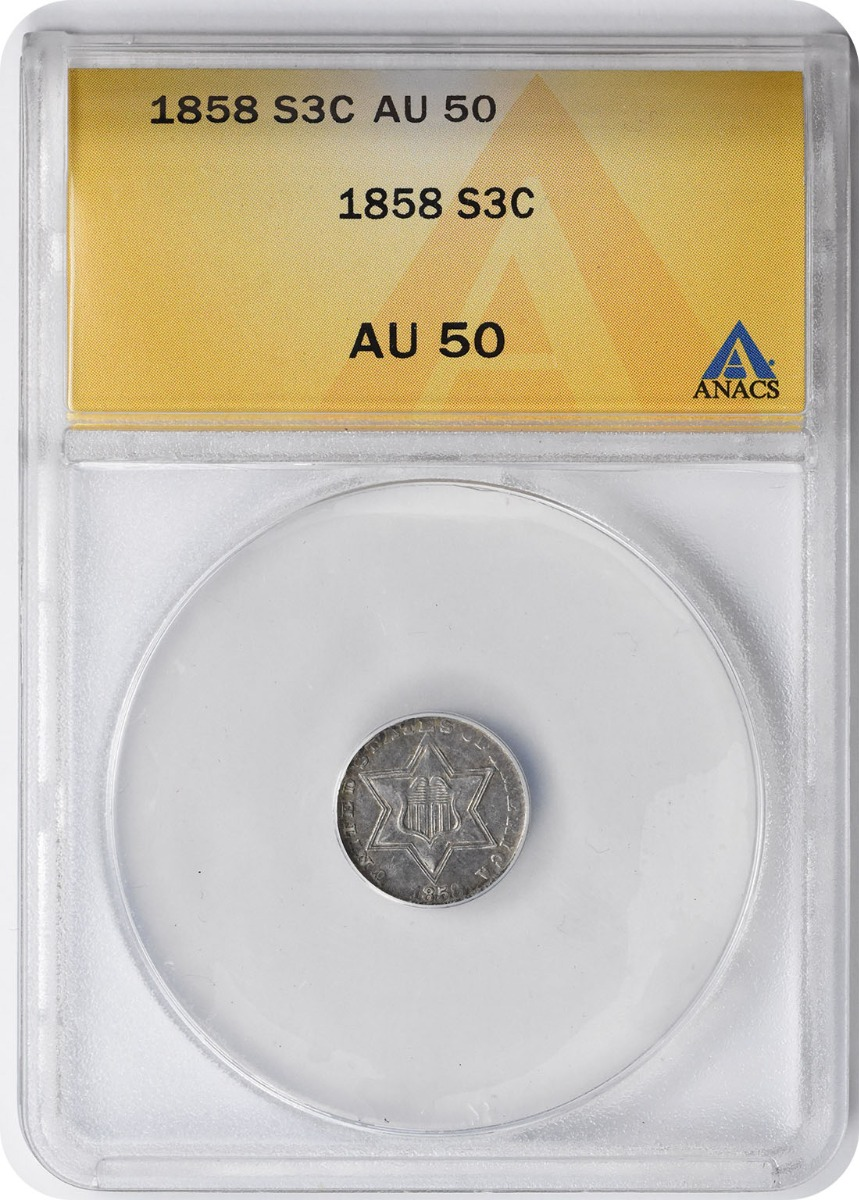1858 Three Cent Silver AU50 ANACS