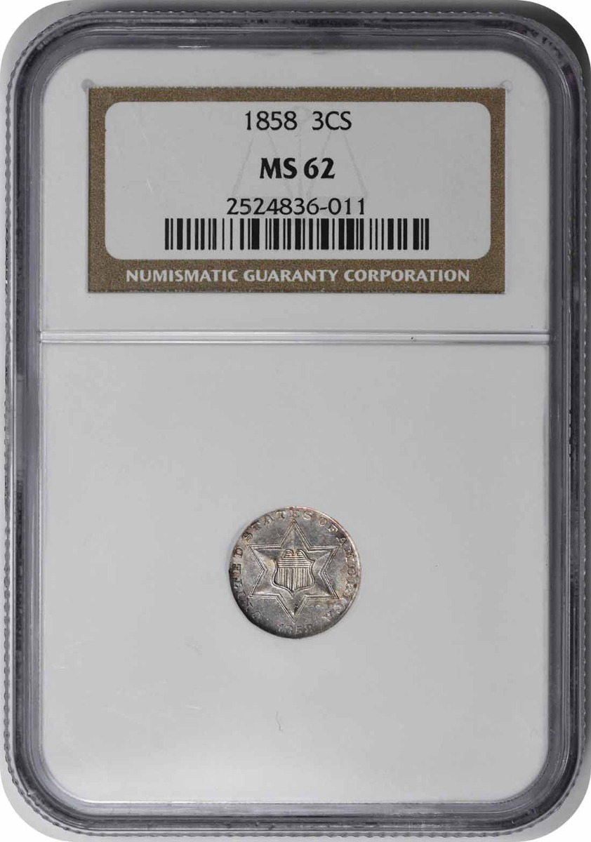 1858 Three Cent Silver MS62 NGC