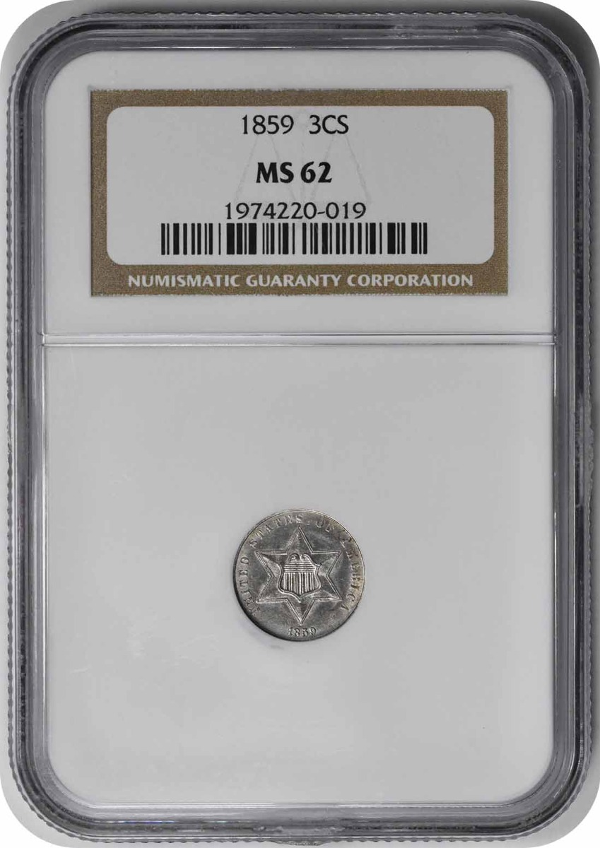 1859 Three Cent Silver MS62 NGC