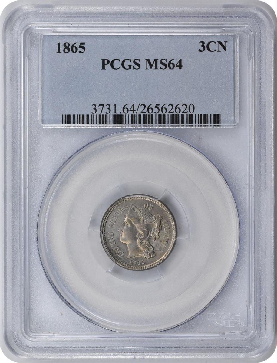 1865 Three Cent Nickel MS64 PCGS