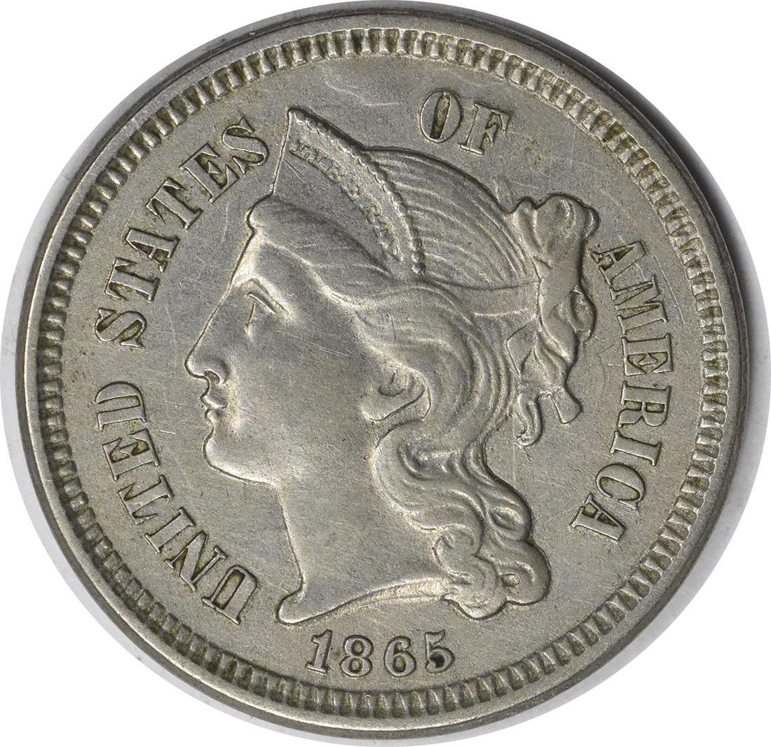 1865 Three Cent Nickel AU58 Uncertified