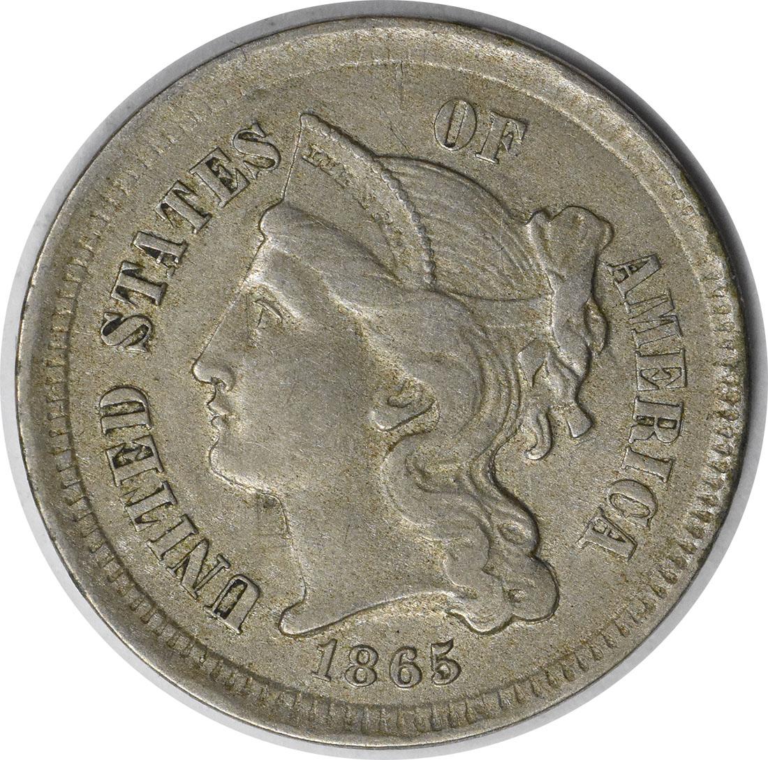1865 Three Cent Nickel AU Uncertified