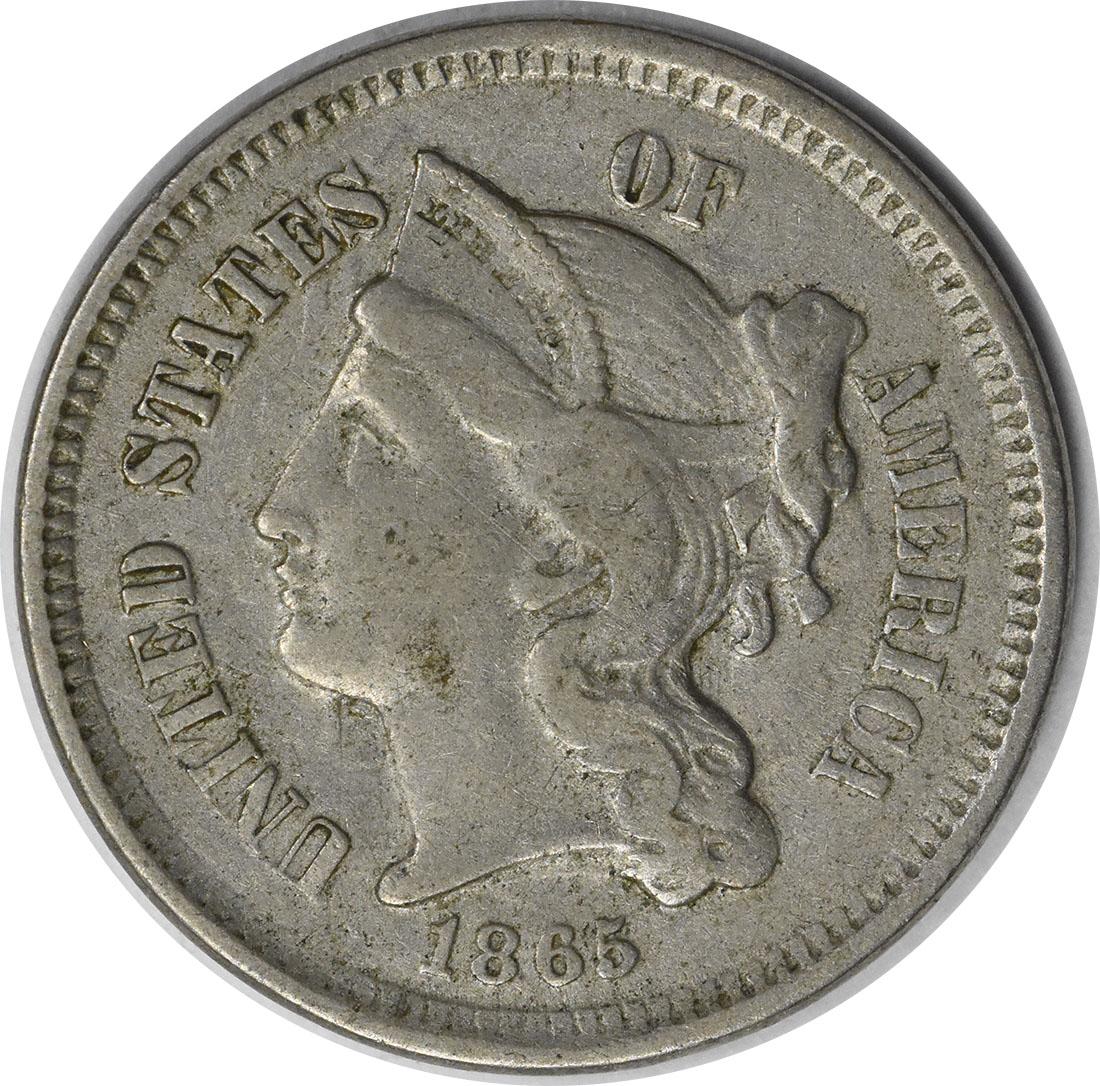 1865 Three Cent Nickel EF Uncertified