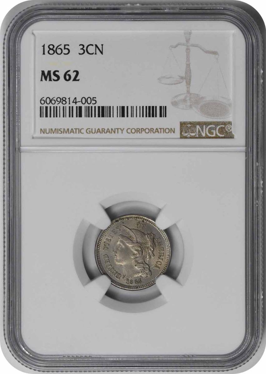 1865 Three Cent Nickel MS62 NGC