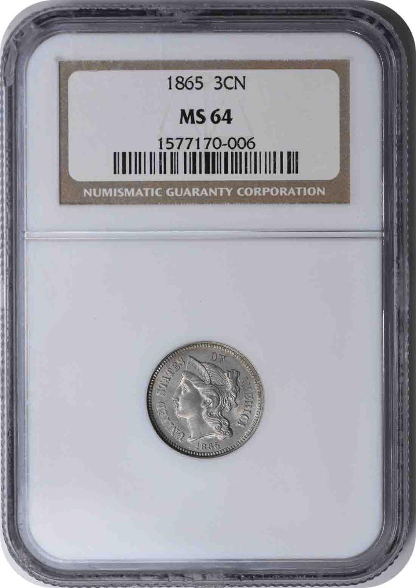 1865 Three Cent Nickel MS64 NGC