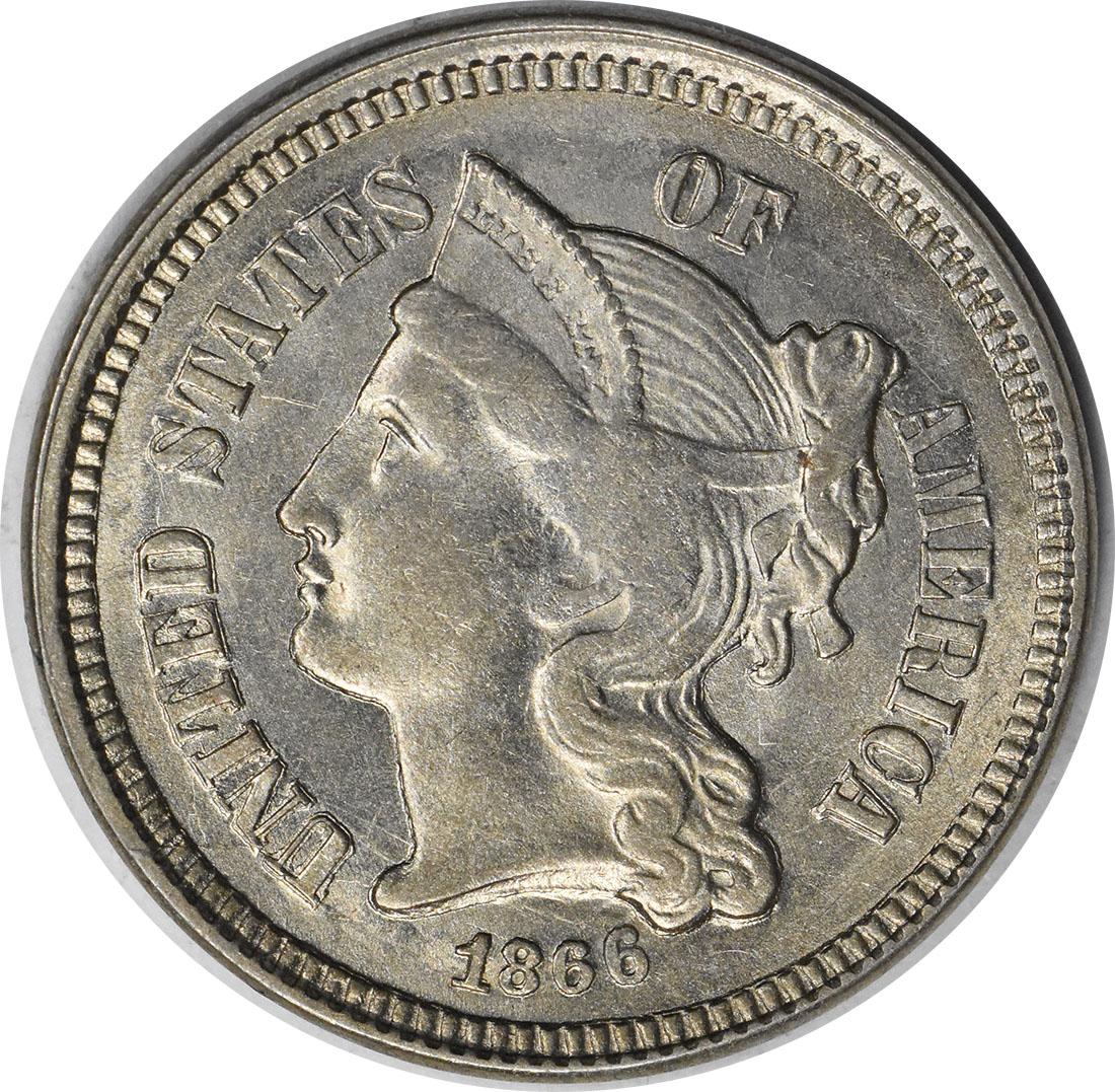 1866 Three Cent Nickel AU58 Uncertified