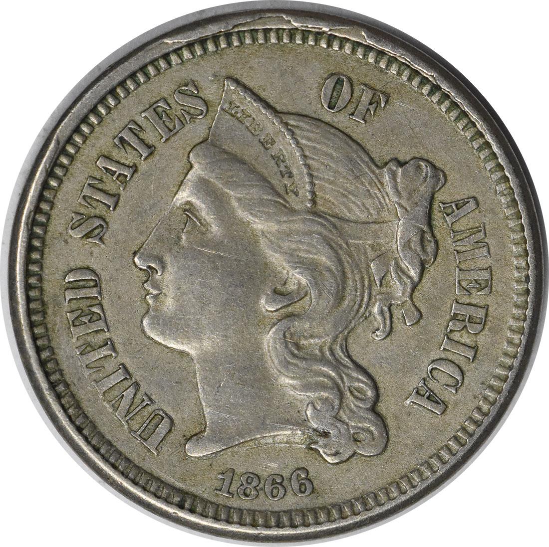1866 Three Cent Nickel AU Uncertified