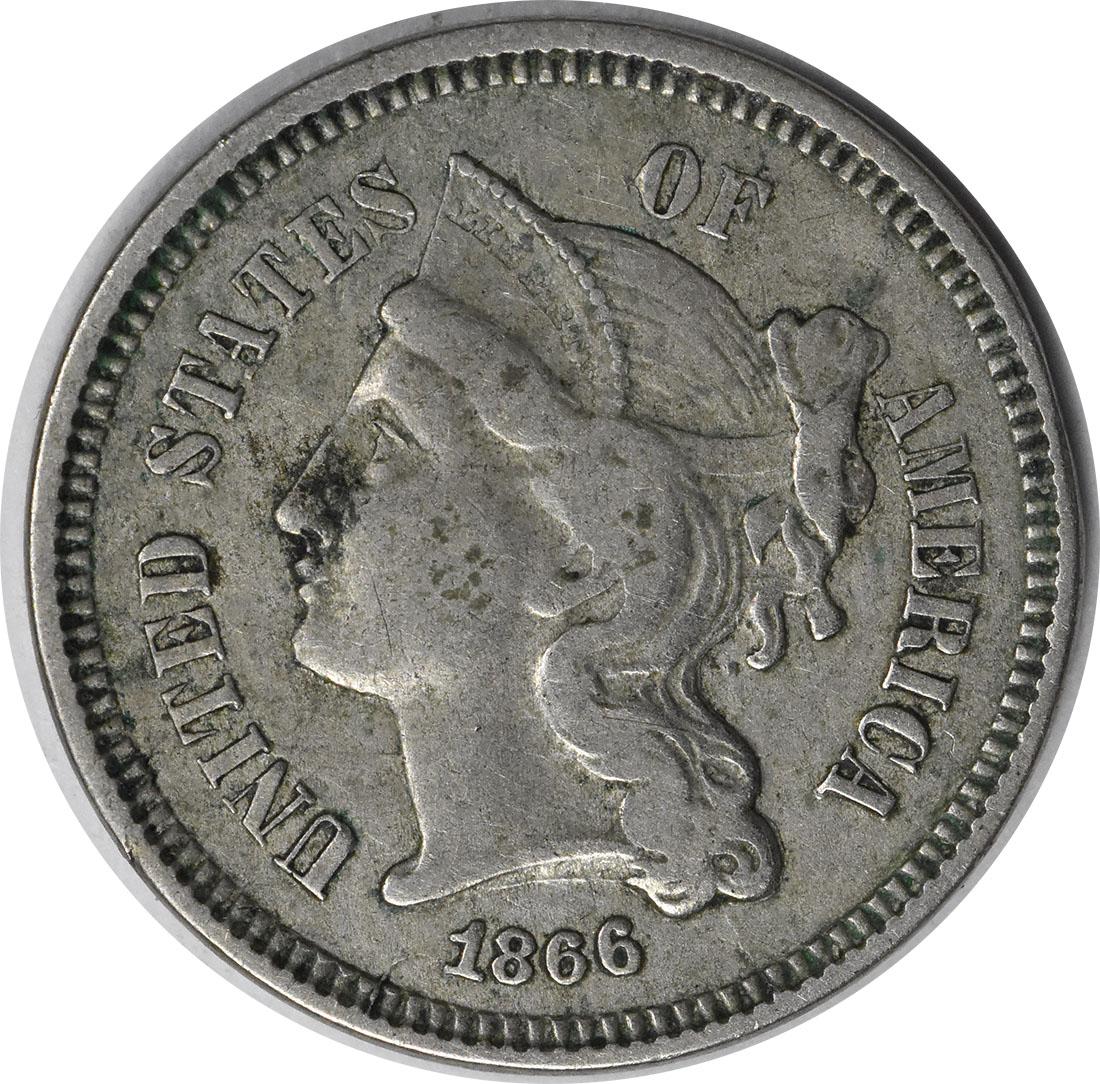 1866 Three Cent Nickel EF Uncertified