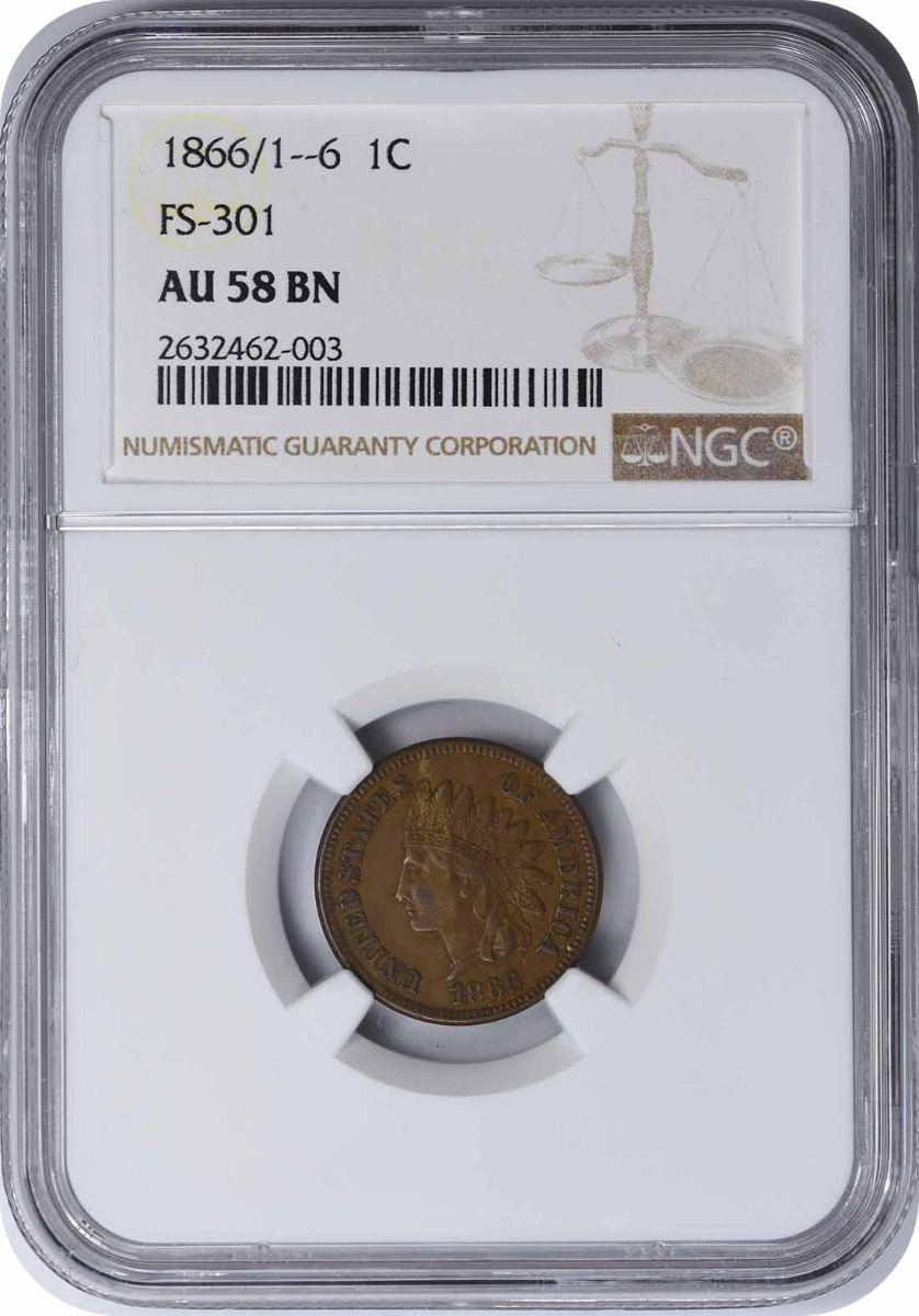 1866/1-6 Indian Cent, FS-301 AU58BN NGC