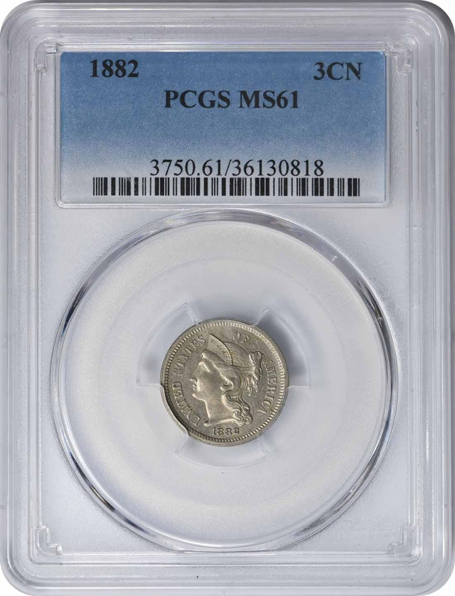 1882 Three Cent Nickel MS61 PCGS