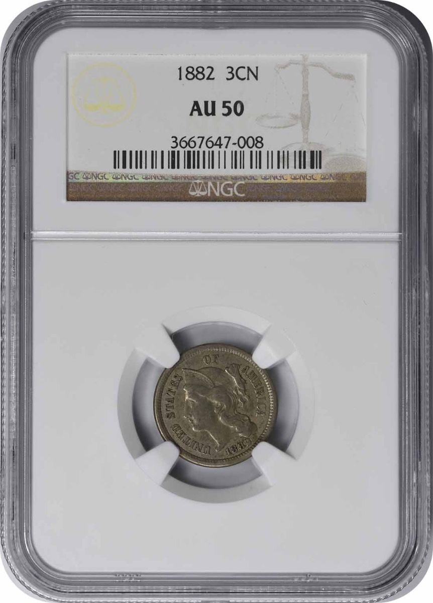 1882 Three Cent Nickel AU50 NGC