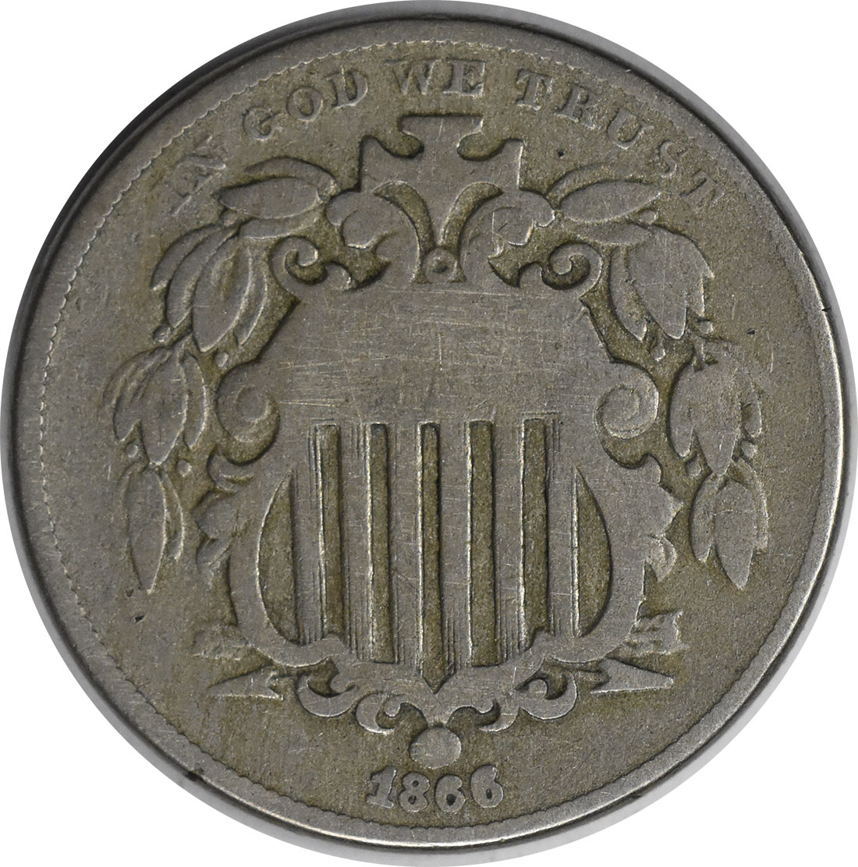 1866 Shield Nickel Rays G Uncertified