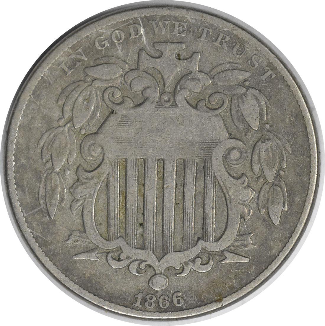 1866 Shield Nickel Rays VG Uncertified
