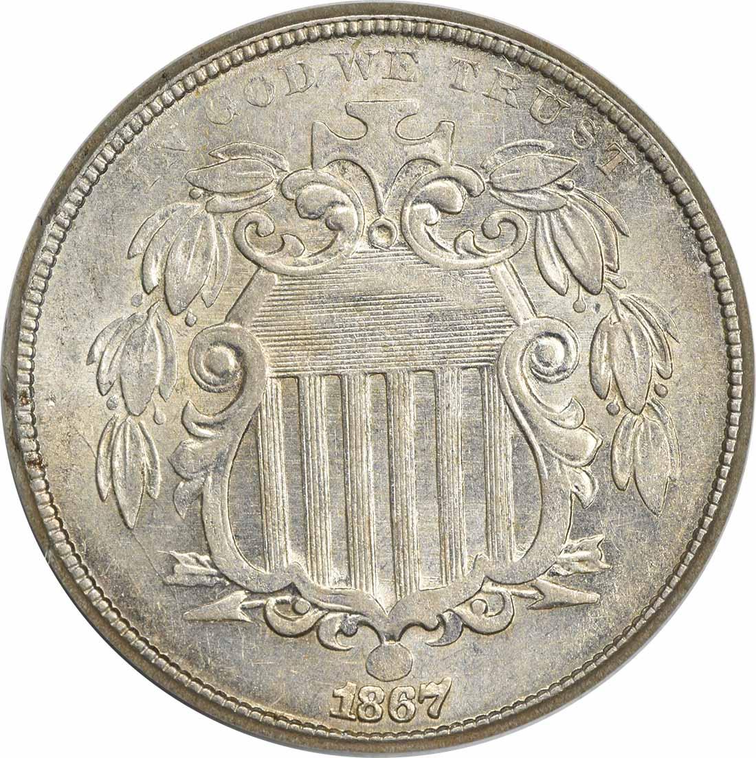 1867 Shield Nickel No Rays MS60 Uncertified
