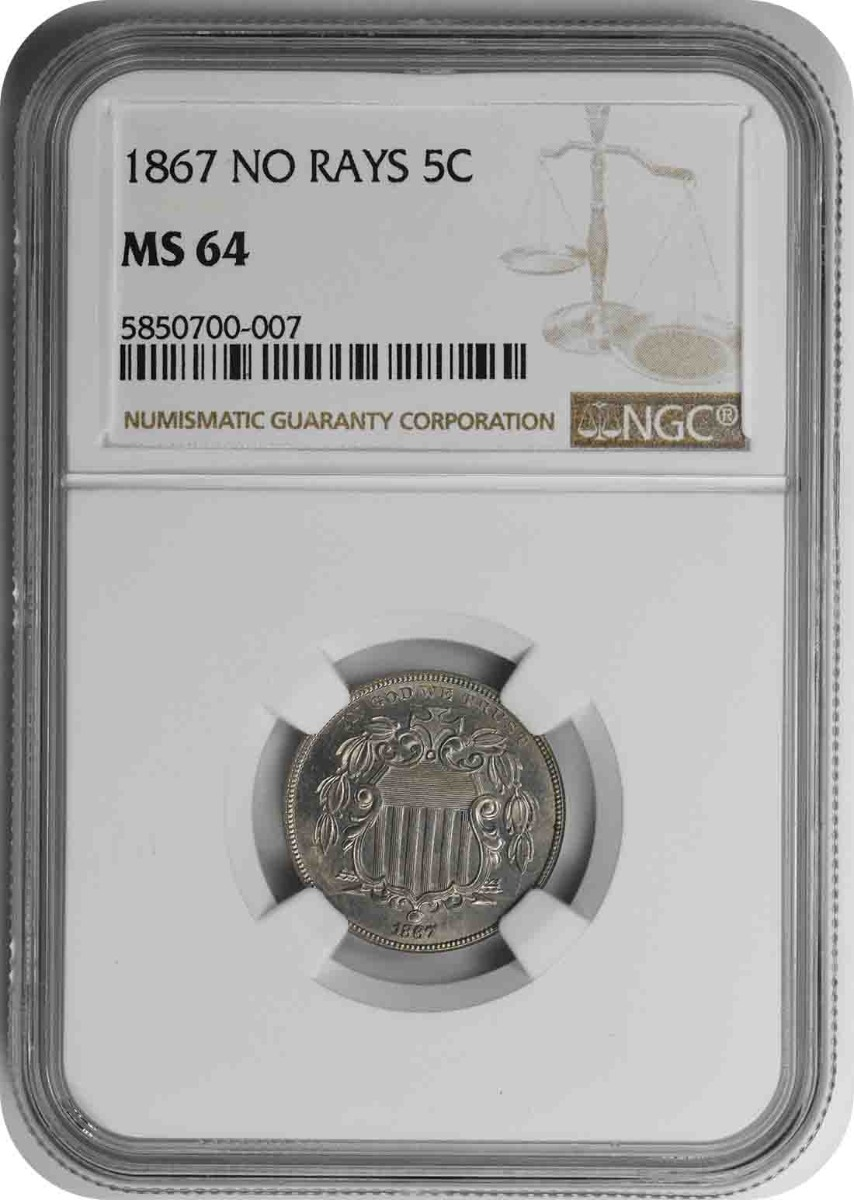 1867 Shield Nickel No Rays MS64 NGC